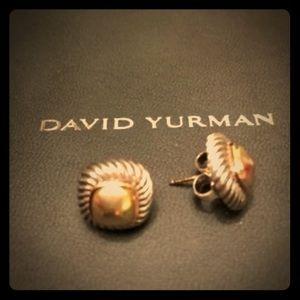 DAVID YURMAN ALBION 18KT GOLD & SS EARRINGS